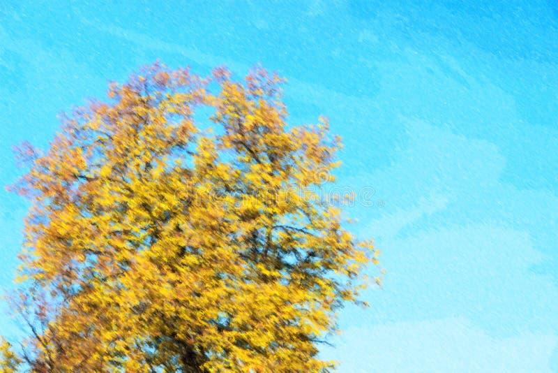 Ilustração das folhas de outono com o fundo do céu azul imagens de stock