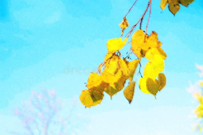Ilustração das folhas de outono com o fundo do céu azul imagens de stock royalty free
