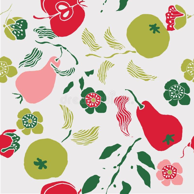 Ilustração das frutas, flores, pássaros ilustração royalty free