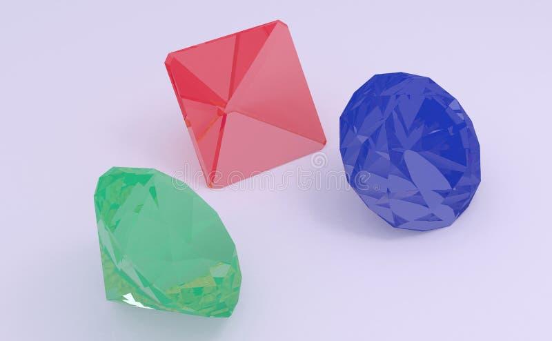 Ilustração das gemas 3D ilustração royalty free