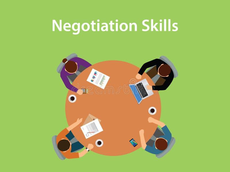 A ilustração das habilidades da negociação com quatro povos discute em uma tabela com os documentos, o café e o portátil sobre a  ilustração royalty free