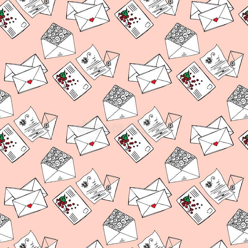 Ilustração das letras e dos envelopes Mensagens românticas Teste padrão sem emenda ilustração royalty free