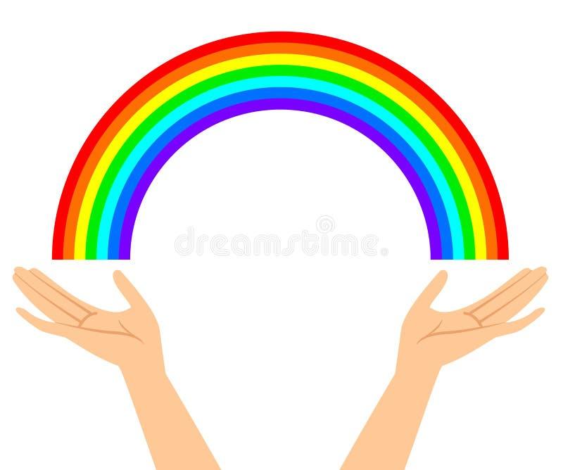 Ilustração das mãos com arco-íris ilustração royalty free