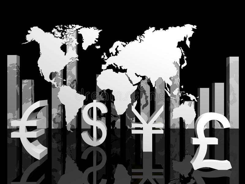 Ilustração das moedas de comércio em torno do mundo ilustração royalty free