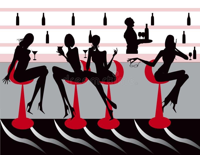 Ilustração das mulheres do café da sala de estar do restaurante da barra ilustração stock