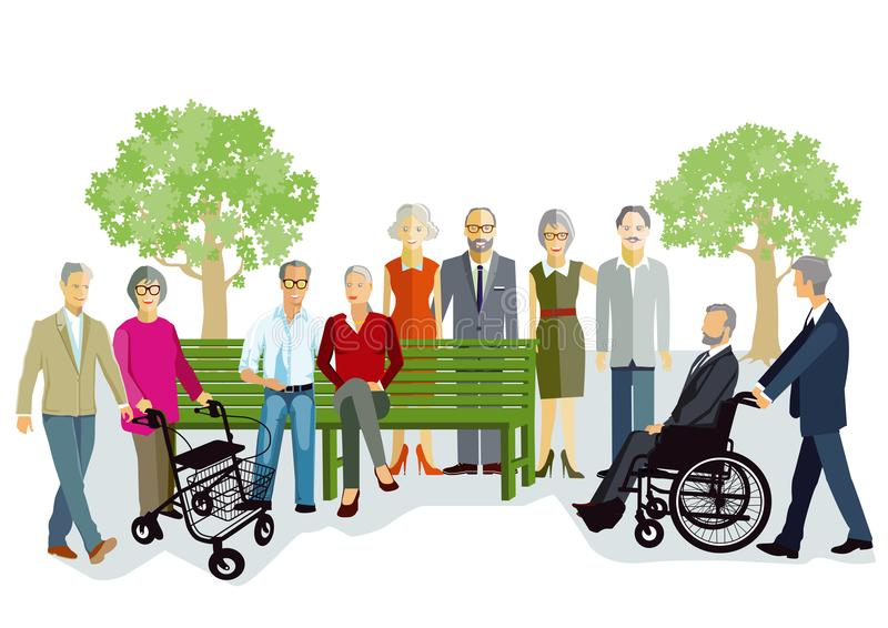 Ilustração das pessoas adultas fora ilustração royalty free