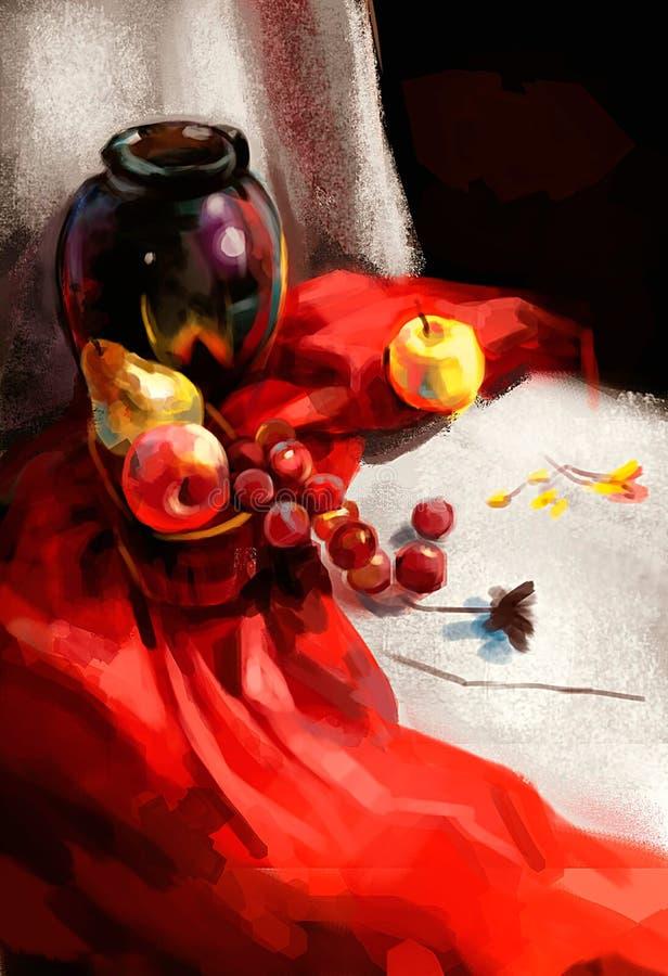 Ilustração das uvas na tabela ilustração royalty free