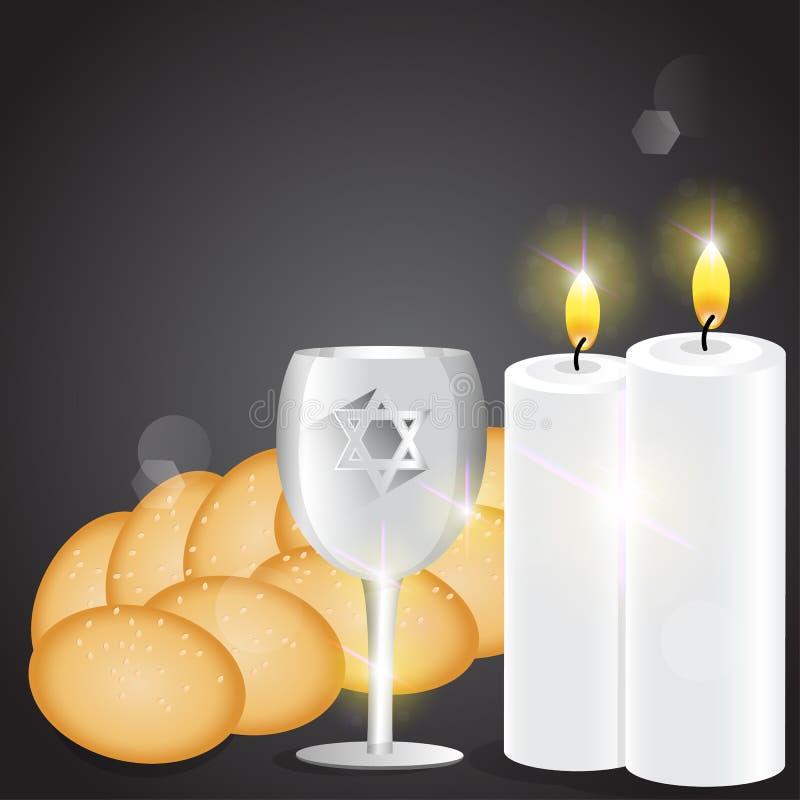 Ilustração das velas e do copo do kiddush ilustração royalty free