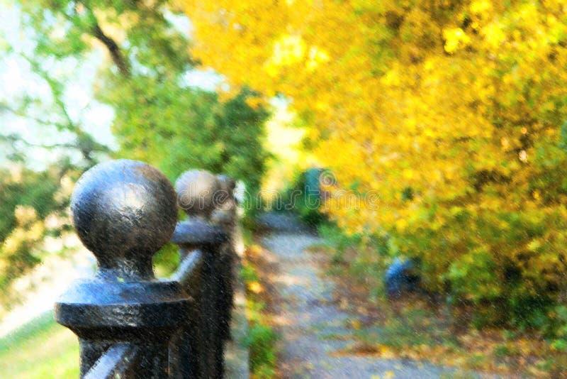 Ilustração de árvores do outono no parque fotografia de stock royalty free