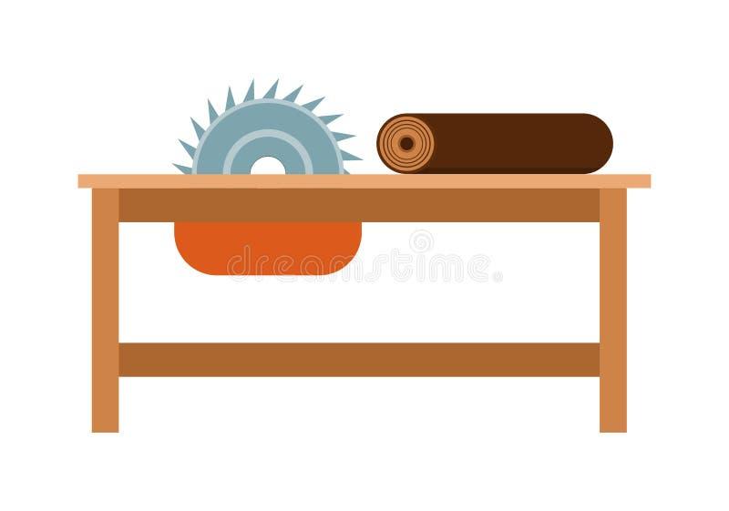 ilustração de aço do vetor da construção do trabalho do equipamento da ferramenta da indústria do ícone do banco da Poder-serra ilustração royalty free