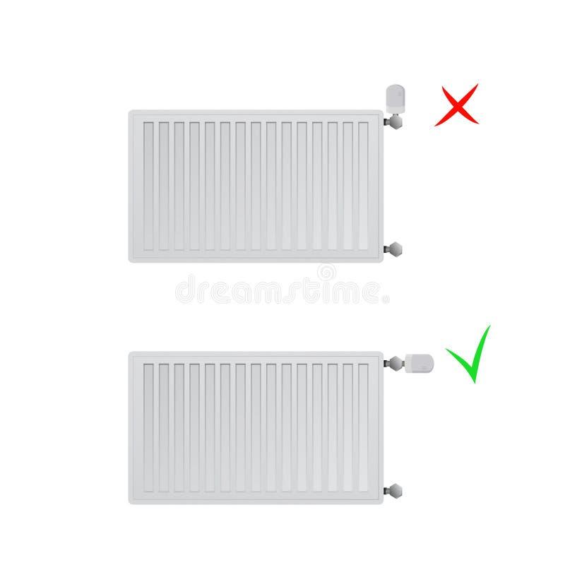Ilustração de aço do vetor dos radiadores do painel Lugar correto e incorreto da cabeça térmica ilustração do vetor