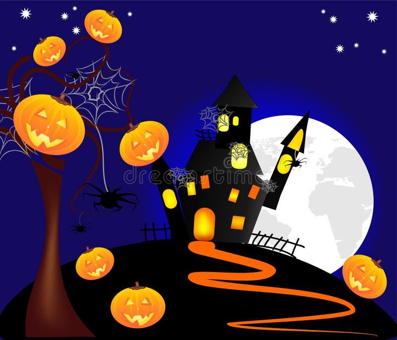 Ilustração de abóboras de Halloween com um castelo a ilustração do vetor