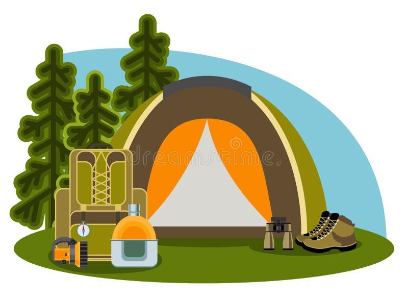 Ilustração de acampamento gráfica no estilo liso ilustração royalty free