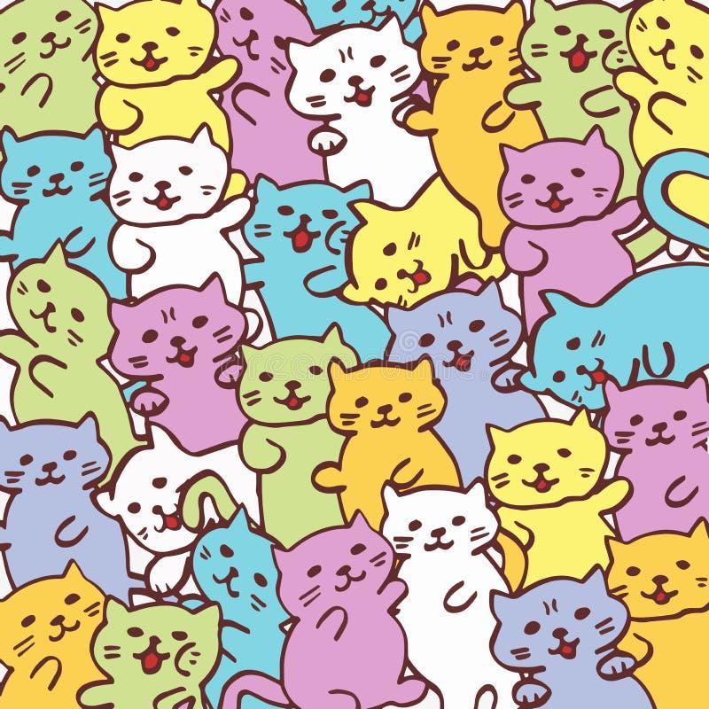 Ilustração de alta qualidade do teste padrão engraçado do gato do gato ilustração royalty free