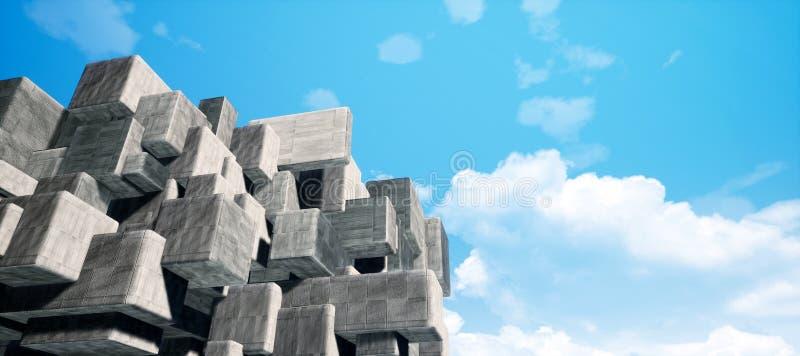 Ilustração de alta resolução da rendição do cimento geométrico abstrato/fundo concreto 3D CG da textura da parede interior dos cu ilustração do vetor