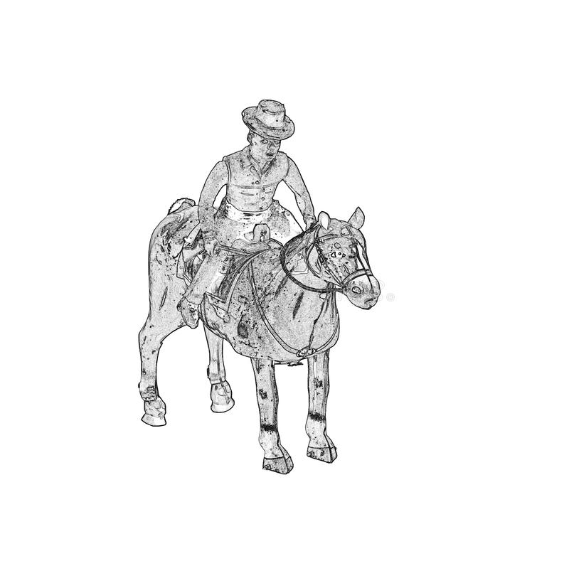 A ilustração de antigo enrola acima o vaqueiro do brinquedo da lata com cavalo ilustração royalty free