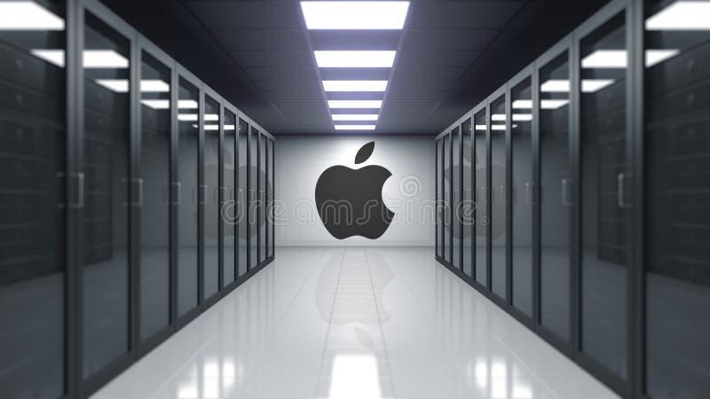 Ilustração de Apple Inc logotipo na parede da sala do servidor Rendição 3D editorial ilustração do vetor