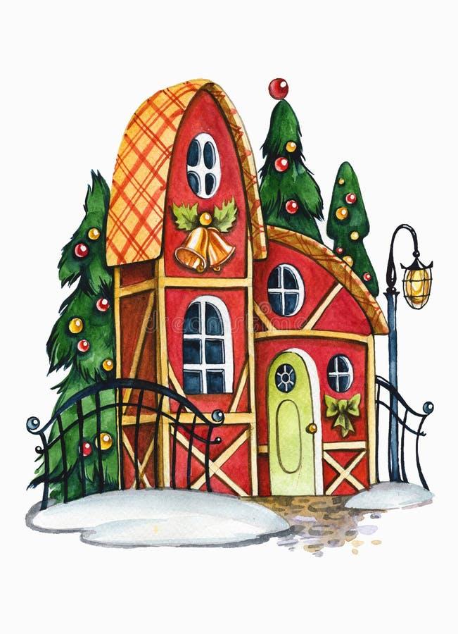 Ilustração de aquarela desenhada à mão de um hut de fairytale Casa fabulosa com árvores decoradas de Ano Novo ilustração do vetor
