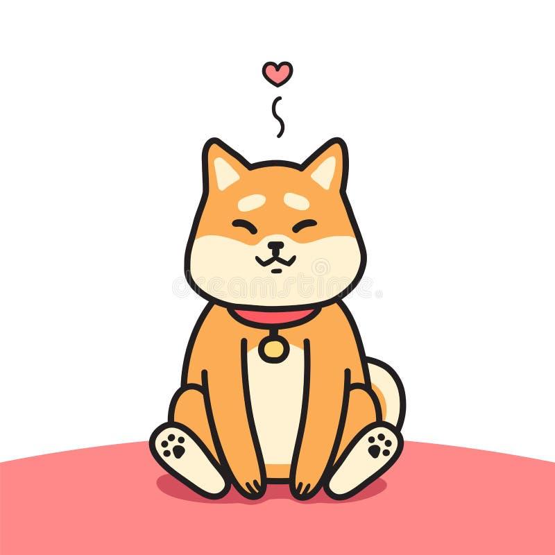 Ilustração de assento bonito do vetor do cão do inu do shiba ilustração royalty free