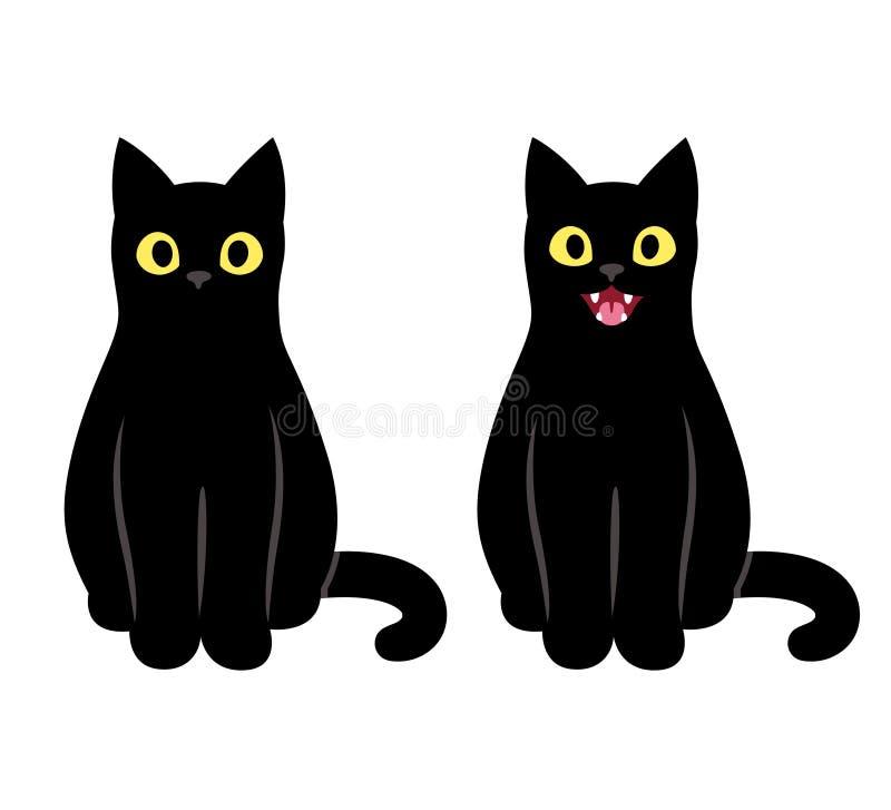 Ilustração de assento do gato preto ilustração stock
