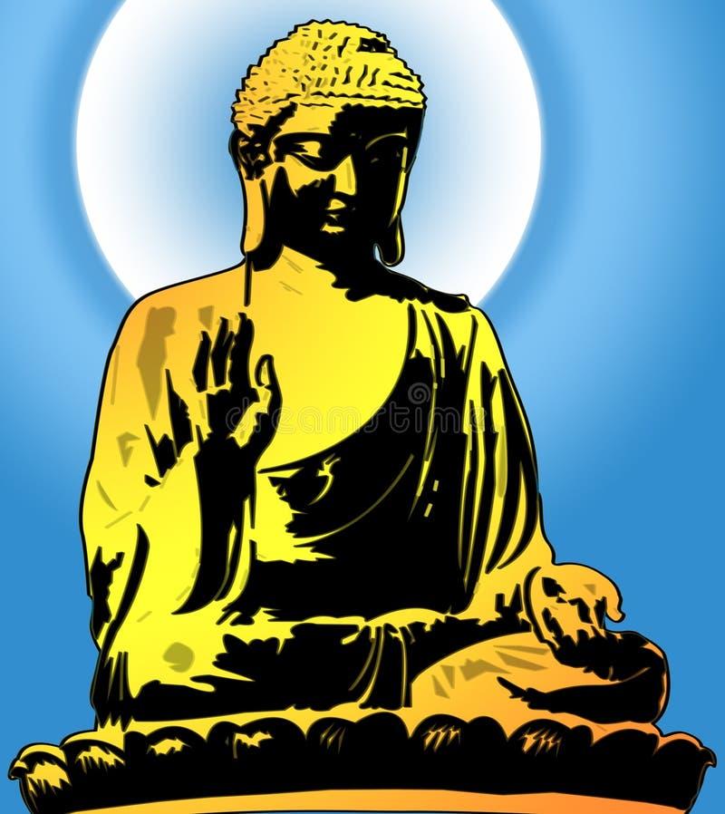 Ilustração de assento dourada de Buddha ilustração do vetor