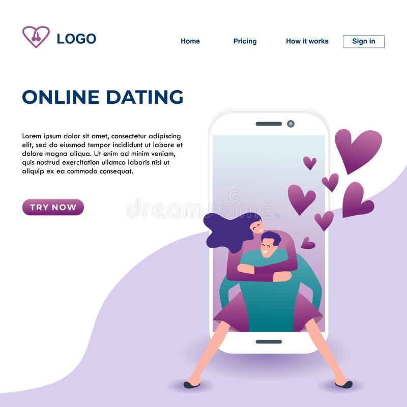 Ilustração de aterrissagem datando em linha do vetor do projeto da página com estilo moderno da tecnologia dos pares românticos n ilustração royalty free