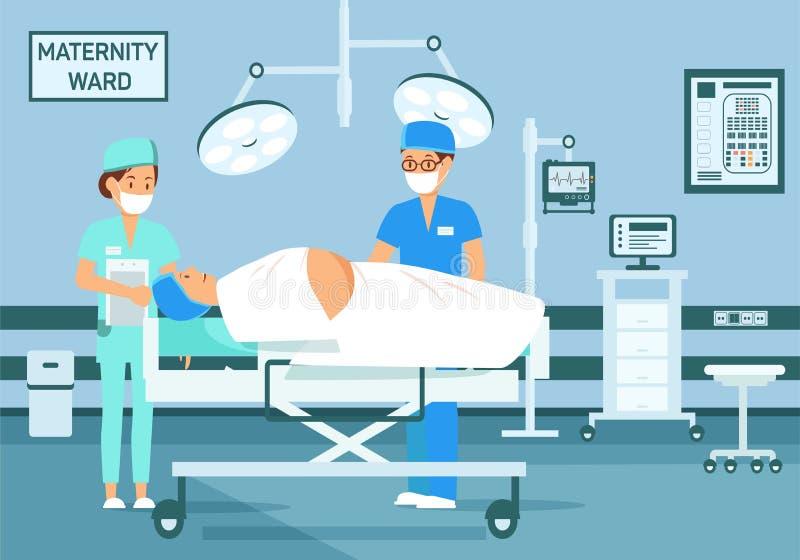Ilustração de Attends Childbirth Flat do ginecologista ilustração do vetor