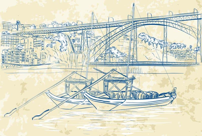 Ilustração de barcos do rabelo em Porto, Portugal ilustração stock