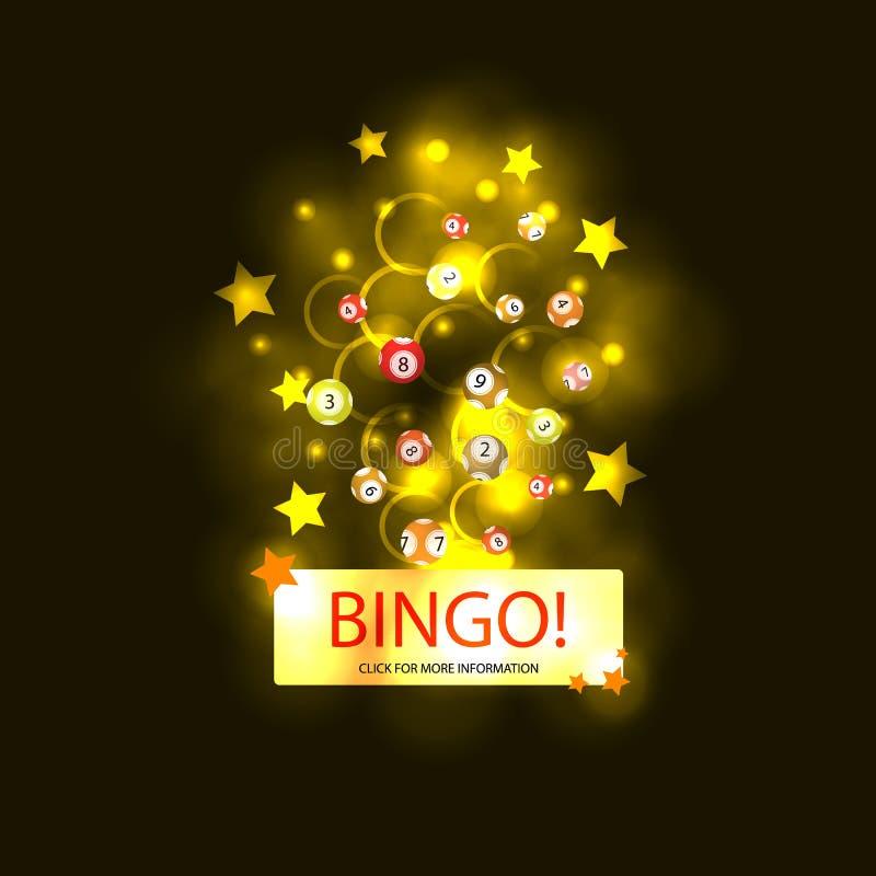 Ilustração de brilho colorida do BINGO do vetor, molde do fundo da Web, conceito dos jogos de jogo, explosão de incandescência ilustração stock