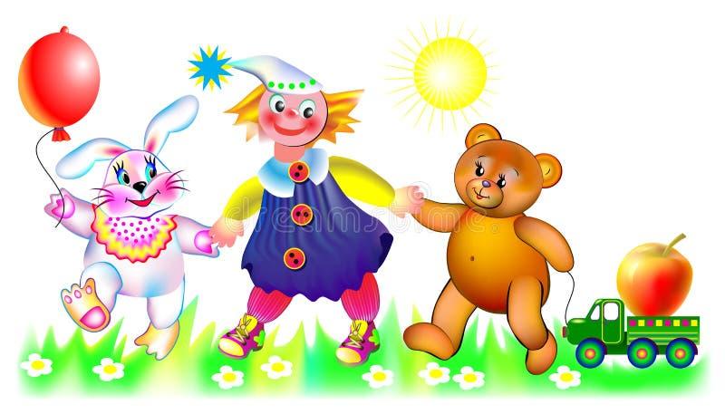 Ilustração de brinquedos engraçados em uma caminhada ilustração do vetor