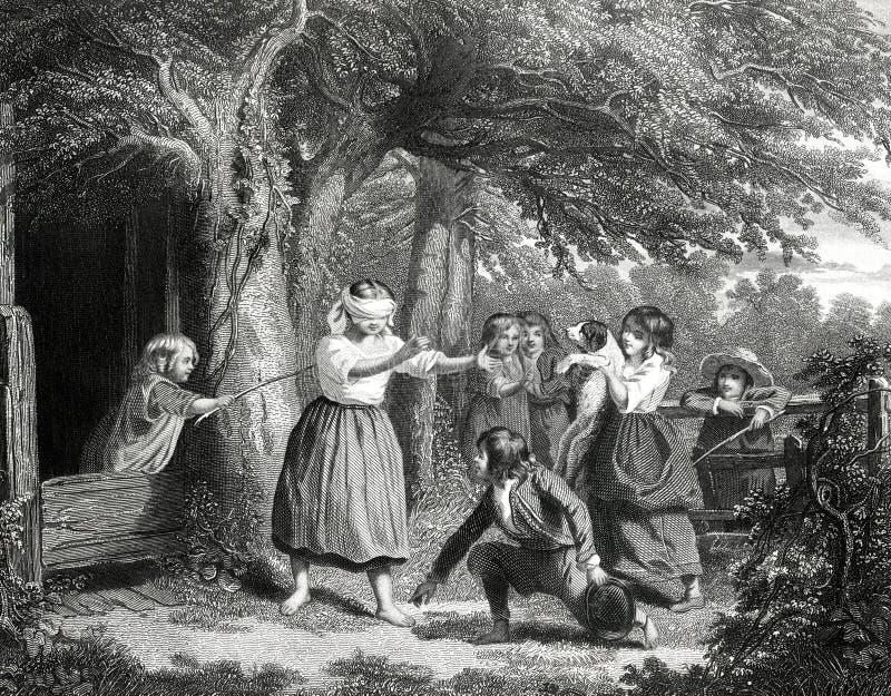 Ilustração de Buff Bluff Blindfolded Game Antique de homem cego ilustração do vetor
