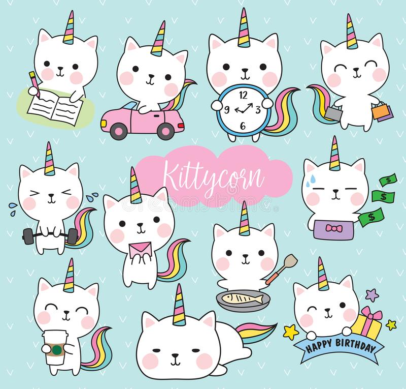 Ilustração de Cat Unicorn Life Activity Planner Vetora ilustração stock