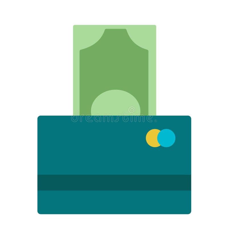 Ilustração de cem cédulas do Euro que estão sendo introduzidas no leitor da moeda em um cartão de crédito Balanço de contas do ba ilustração stock