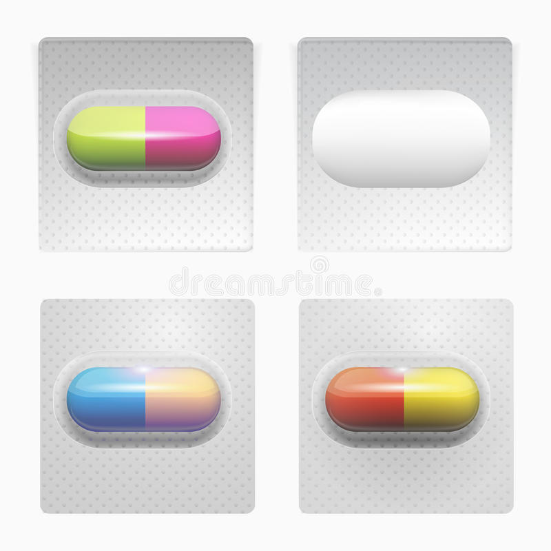 Ilustração de comprimidos coloridos ilustração royalty free