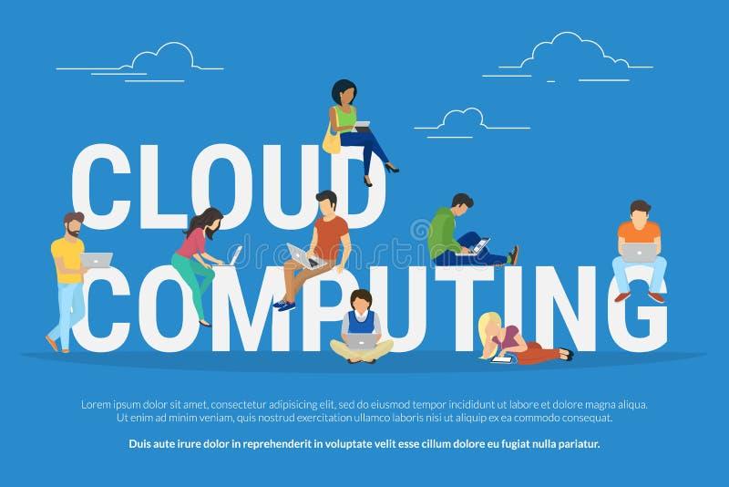 Ilustração de computação do conceito da nuvem ilustração do vetor