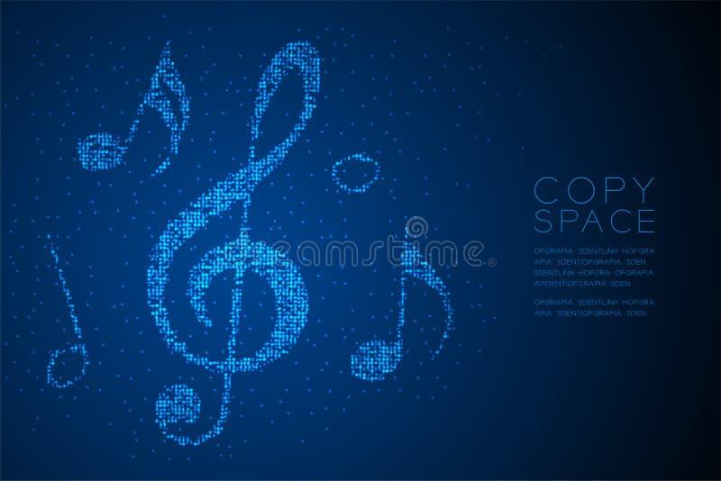 Ilustração de cor azul geométrica abstrata do projeto de conceito da forma da nota da música do teste padrão do pixel do ponto do ilustração stock