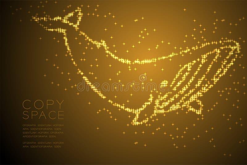 Ilustração de cor brilhante abstrata do ouro do projeto de conceito da forma da baleia do teste padrão de estrela, a aquática e a ilustração royalty free