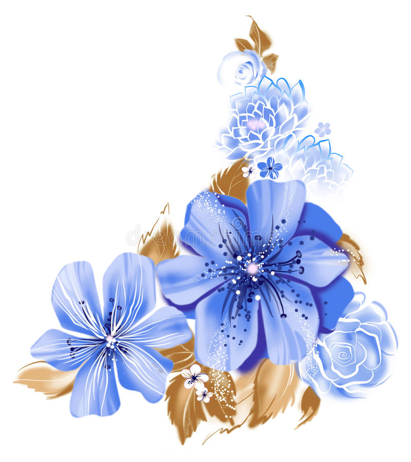 Ilustração de cor das flores em pinturas da aquarela ilustração stock