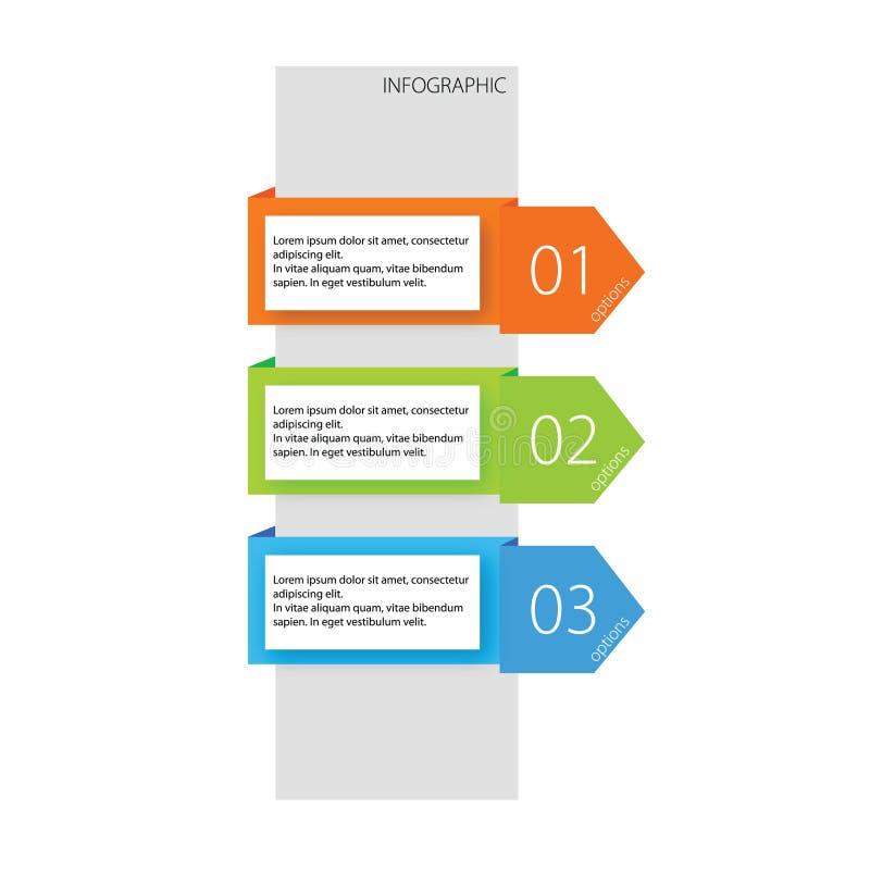 Ilustração de cor das opções três de Infographic ilustração royalty free