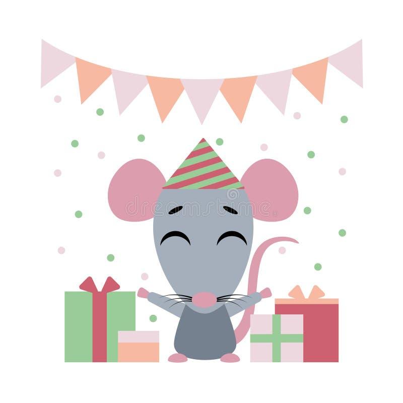Ilustra??o de cor do vetor de desenhos animados agrad?veis do rato com as caixas de presente no fundo branco Projeto liso do esti ilustração royalty free