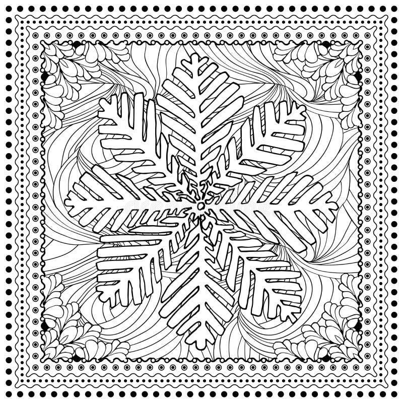 Ilustração de cor do vetor preto mono para o Feliz Natal ilustração stock