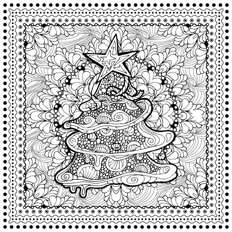 Ilustração de cor do vetor preto mono para o Feliz Natal ilustração royalty free