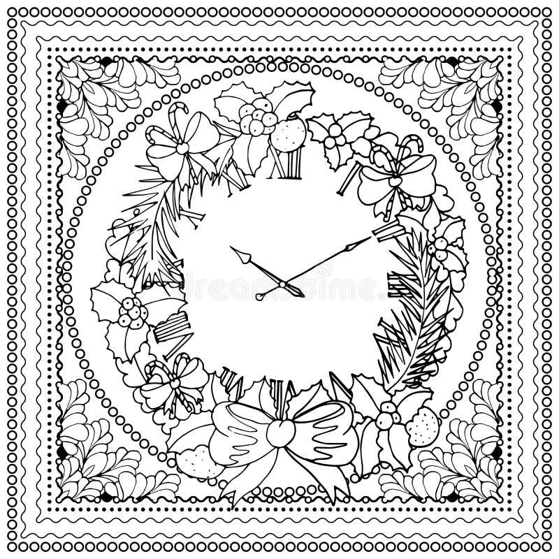Ilustração de cor do vetor preto mono para projeto da cópia do Feliz Natal e do ano novo feliz 2016 Projeto da página do livro pa ilustração stock
