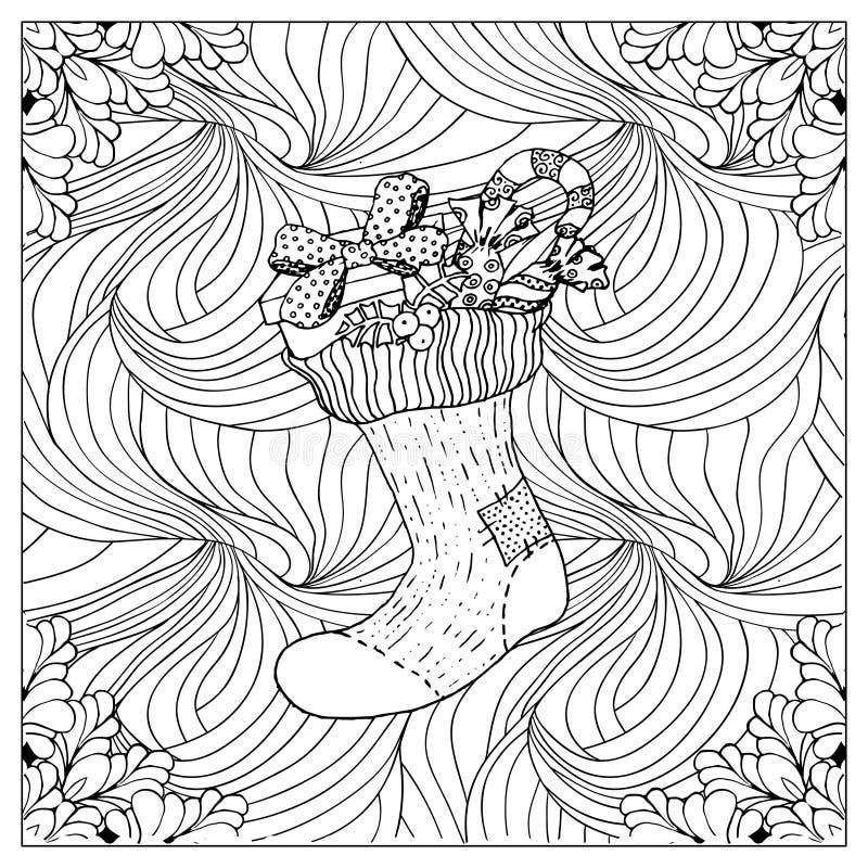 Ilustração de cor do vetor preto mono Projeto adulto da página do livro para colorir ilustração stock