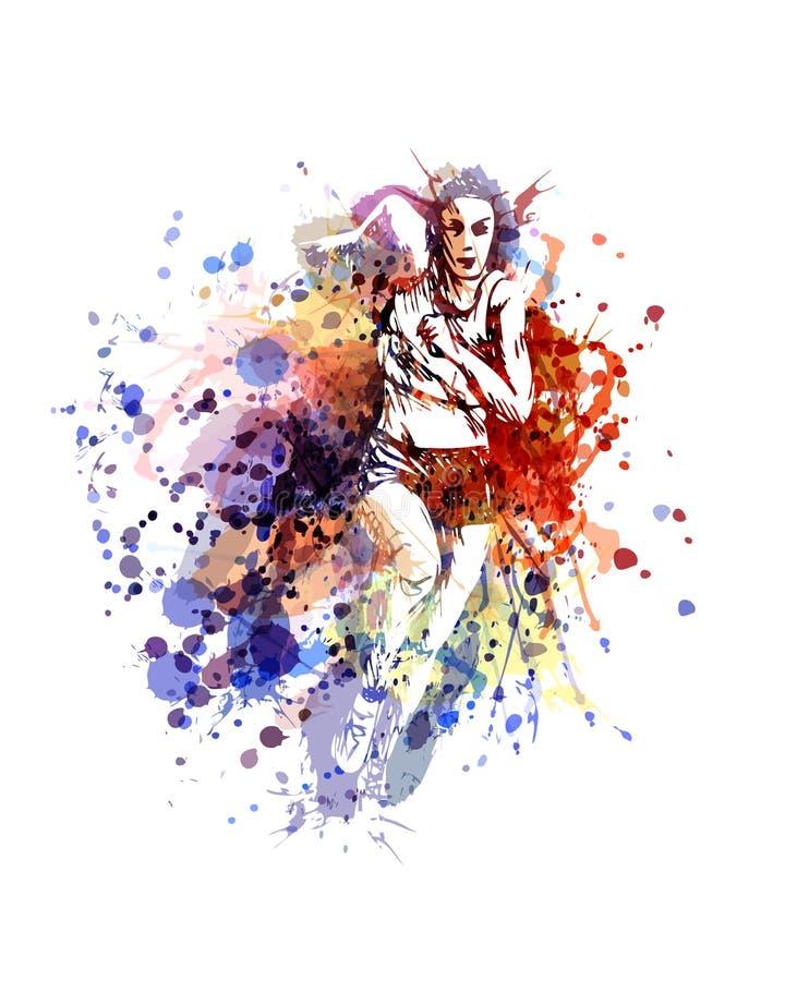 Ilustração de cor do vetor de uma mulher running ilustração do vetor