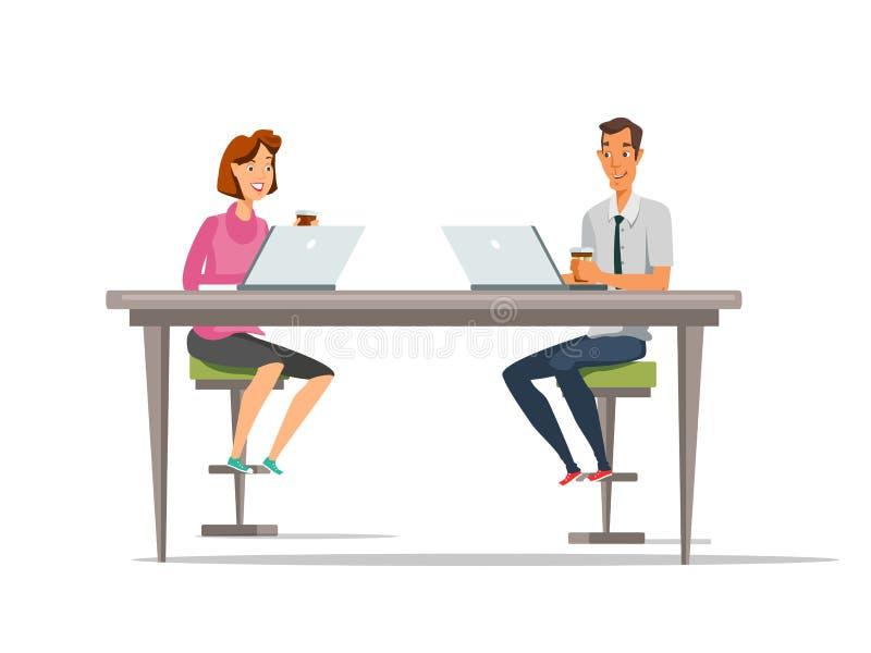 Ilustração de cor dos desenhos animados da zona de Coworking ilustração do vetor