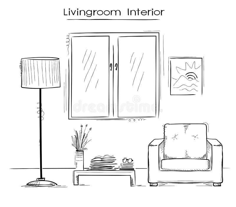 Ilustração de cor esboçado do interior do quarto Drawi da mão do vetor ilustração do vetor