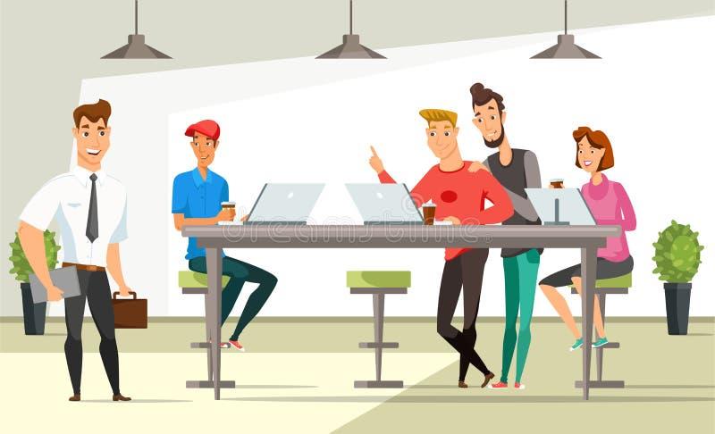 Ilustração de cor lisa do vetor dos trabalhadores de escritório ilustração do vetor