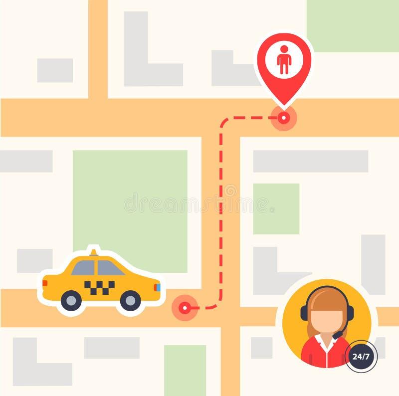 Ilustração de cor lisa de um mapa com uma vista superior com ícones do táxi e uma etiqueta do passageiro linha tracejada rota do  ilustração stock