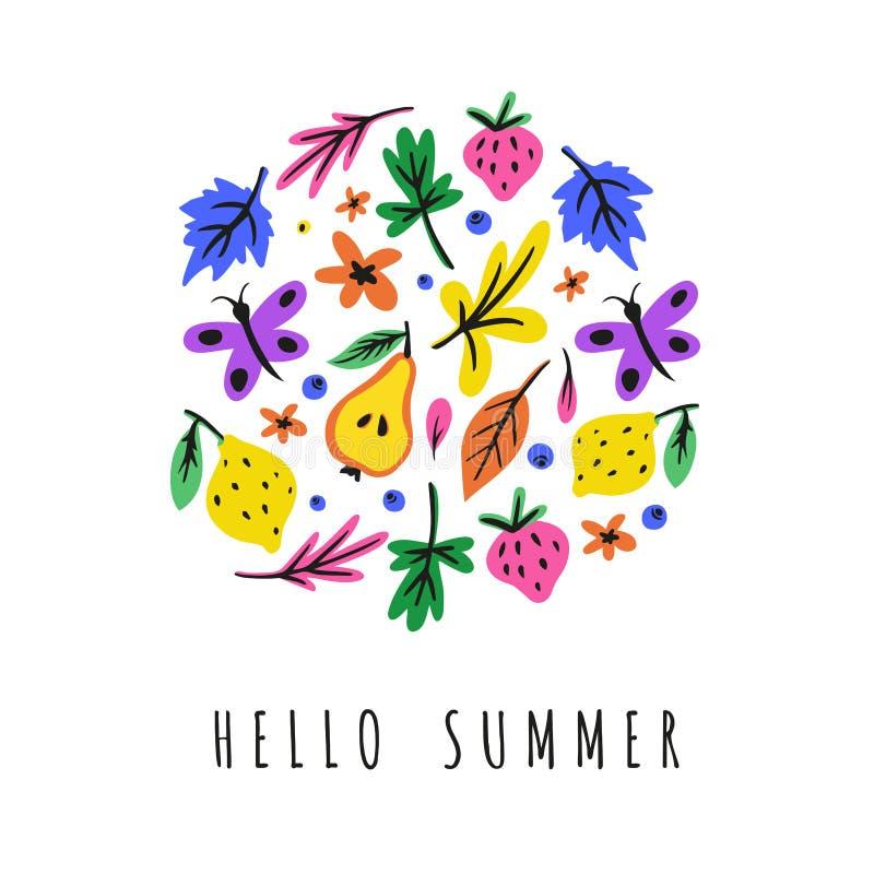 Ilustração de cor tirada das férias de verão mão lisa brilhante bonito ilustração do vetor